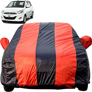 Autofact Car Body Cover for Hyundai i10 (Mirror Pocket, Premium Fabric, Triple Stiched, Fully Elastic, Red/Blue Color)