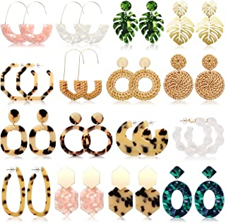 FIFATA 16 Pairs Statement Rattan Earrings for Womens Fun Acrylic Drop Earrings Resin Trendy Bohemian Fashion Jewelry Set