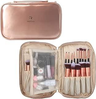 Relavel Professional Cosmetic Case Makeup Brush Organizer Makeup Artist Case with Belt Strap Holder Multi functional Cosmetic Bag Makeup Handbag for Travel Home Gift (Rose Gold)