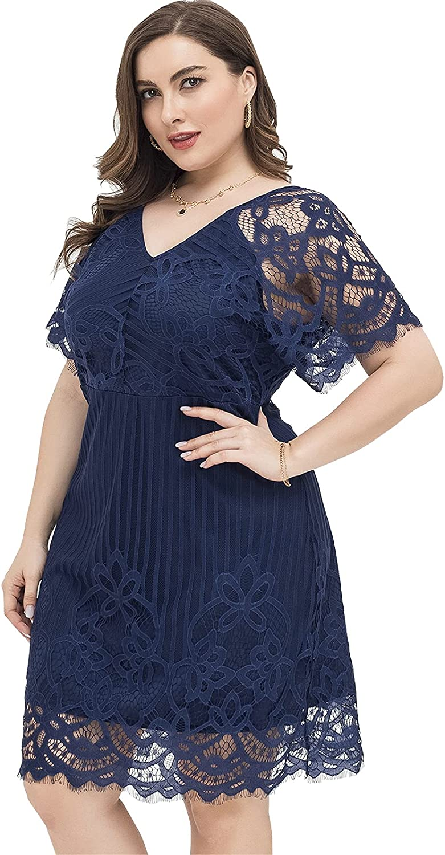 Women Sexy Summer Plus Size Bodycon Wrap Cocktail Lace Dress