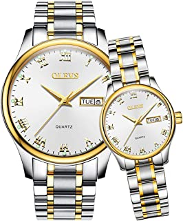OLEVS His and Hers Watch Fashion Business Couple Set Quartz Luminous Date Women and Men Valentines Romantic Love Gift Set of 2