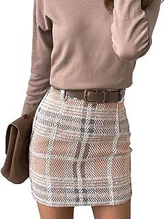 Frecoccialo Falda a Cuadros para Mujer Falda Mini Sexy Cintura Alta A-Line de Moda Falda Vestido Otoño Primavera Invierno ...