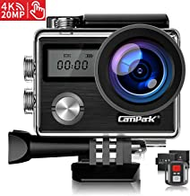 【Upgrade】 Campark X20 Action Camera Native 4K Ultra HD 20MP with EIS Stablization Touch Screen Remote Control Waterproof Camera 40M 2 Batteries and Professional Accessories Compatible with gopro