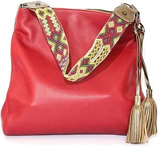 Shoulder Leather Bag for women, red color, Shoulder purse saddle bag, short indian embroidery strap