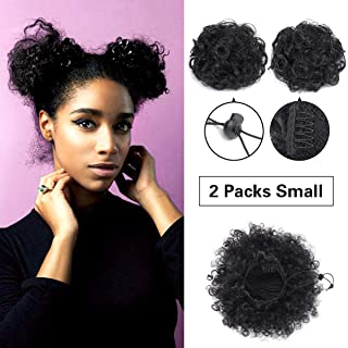 Synthetic Curly Ponytail,Short Elastic Drawstring Ponytail African American Afro Kinky Curly Hair Extension, Puff Ponytail Hair with Clips(Small 2PC+Hair Ties+Bobby pins)