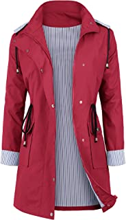 Women Waterproof Raincoat Lightweight Rain Jacket Hooded Windbreaker Trench Coats