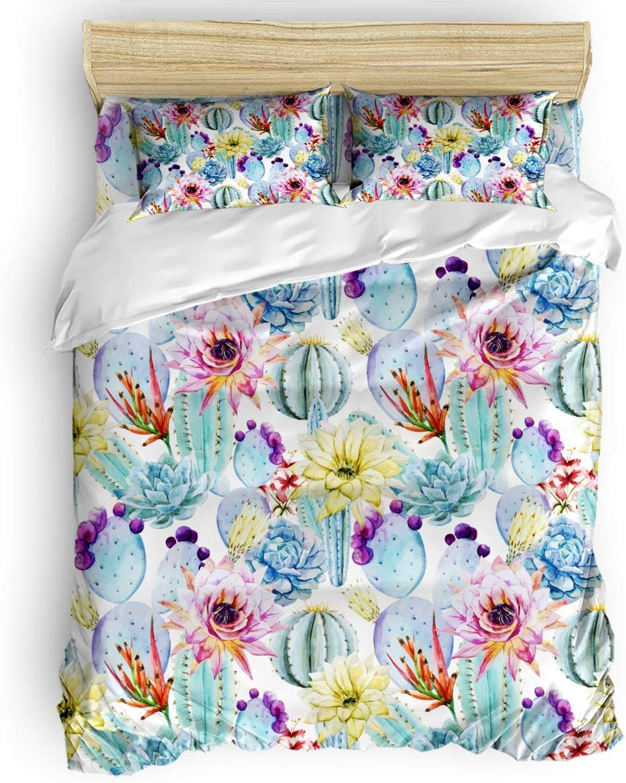Bedding Set Duvet Popular Cover 3 Pieces Full Cactus High order Flower Size Pattern