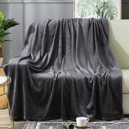 SOFTCARE Plaid Polaire 220x240cm Super Douce et Chaude 350GSM Antistatique Couverture de Lit 2 Personnes - Grand Couverture Canape - Réversible Double Face Gris Foncé