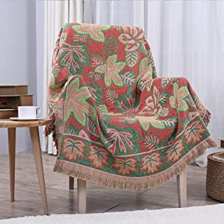 YJBear Pink Leaf Pattern Double Sided Bohemian Decorative Cotton Woven Throw Blanket with Fringe Tapestry Super Soft Warm Chenille Knitted Sofa Towel Couch Blanket with Tassel Green 51