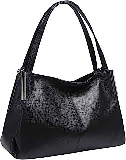 Heshe Women's Leather Designer Handbags Tote Bags Shoulder Bag with Cross Body Strap Satchel for Office Ladies (Black-R)