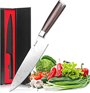 Chef Knife,Mr-Chef Pro 8 Inch High Carbon Stainless Steel Kitchen Knife with Sharp Single Bevel Blade Edge and Ergonomic Wooden Handle With Gife Box