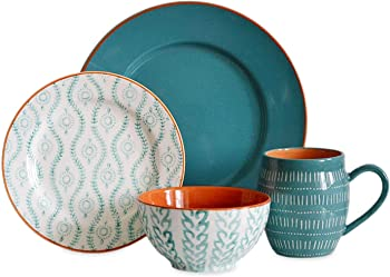 Baum Brothers Tangiers Turquoise 16-Piece Dinnerware Set