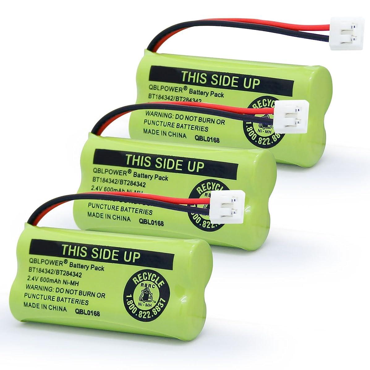 QBLPOWER BT184342/BT284342 Cordless Phone Battery Pack Compatible with AT&T BT8000 BT8001 BT8300 BT18433 BT28433 89-1335-00 89-1344-01 BATT-6010 CPH-515D 2.4V 600mAh NiMH(3 Pack)