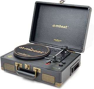mbeat Uptown Retro Briefcase turntable with Cassette Player and Bluetooth Streaming, plays 33/45 RPM vinyls and cassette, ...