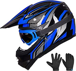 ILM Youth Kids ATV Motocross Dirt Bike Motorcycle BMX Downhill Off-Road MTB Mountain Bike Helmet DOT Approved (Youth-XL, Blue/Silver)