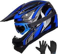 ILM Youth Kids ATV Motocross Dirt Bike Motorcycle BMX Downhill Off-Road MTB Mountain Bike Helmet DOT Approved (Youth-XL, Blue/Silver)