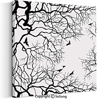 Large Canvas Prints Wall Art Oil Paintings Birds Flying Over Twiggy Tree Branches Stylish Autumn Season Sky View Art Modern Classic Giclee Pictures for Home Decor 30x30inch Black White