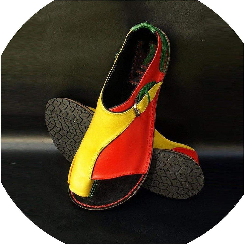 Tiwcer Women Sandal Vintage Summer shoes Genuine Leather Gladiator Beach Flat Buckle Sandalias women