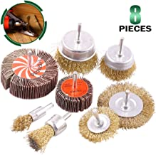 Keadic 8 Pcs Wire Wheel Brush Set, Including 2 Sanding Flap Wheels 80 Grit and 6 Wire Wheel Brushes with 1/4 Inch Shank for Rust Removal, Corrosion and Scrub Surfaces