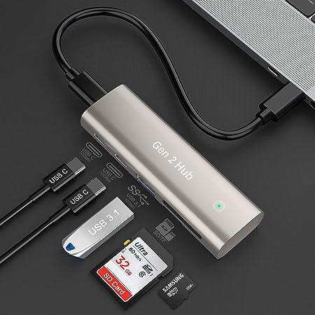 Rocketek Hub USB 3.1 Gen 2 con USB 3.0, Puertos Dual C y Ranura SD / TF para MacBook, Surface Pro, computadora portátil USB C y más, Compatible con Windows XP / Mac OS / Linux