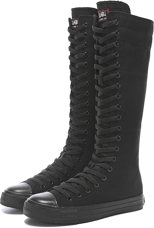 Momuk Women's Fashion Lace Up Knee High Canvas Zip Boots Girls Fancy School Shoes Size 8.5 B(M) US Black