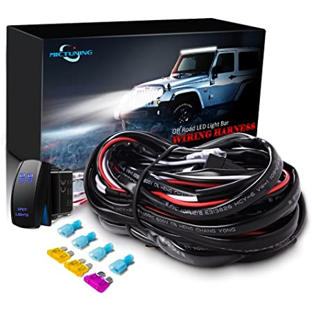 Amazon.com: MICTUNING HD 14AWG 300w LED Light Bar Wiring Harness Fuse 40Amp  Relay ON-OFF Waterproof Switch(2Lead): AutomotiveAmazon.com