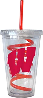 NCAA Wisconsin Badgers Tumbler with Swirl Straw, 16-ounce