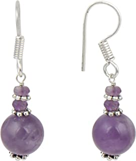 African Amethyst Round Faceted Gemstone Beaded Earrings Dangling Jewelry Fashion for Women