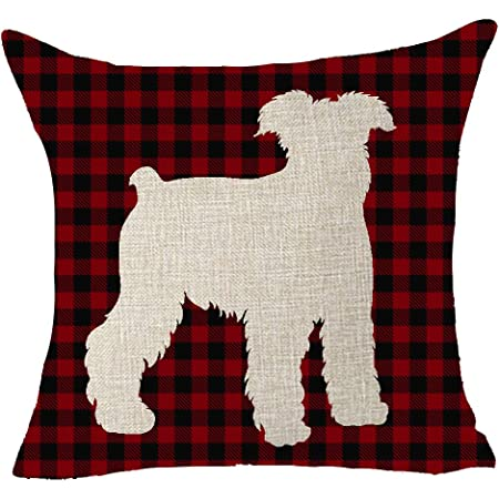 Feleniw Classic Retro Christmas Red And Black Buffalo Checkers Plaids Lattice Animal Dog Schnauzer Shadow Cotton Linen Decorative Throw Pillow Cover Cushion Case 18x18 Inches Home Kitchen