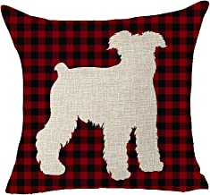 FELENIW Classic Retro Christmas Red and Black Buffalo Checkers Plaids Lattice Animal Dog Schnauzer Shadow Cotton Linen Decorative Throw Pillow Cover Cushion Case 18x18 inches