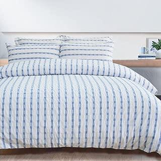Lausonhouse Duvet Cover Set,100% Cotton Woven Seersucker Stripe Duvet Cover Set,3 Pieces Bedding Set(1 Duvet Cover with 2 Pillowshams)- King - Blue