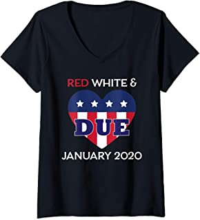 Womens July 4th Pregnancy Announcement Red White Due January 2020 V-Neck T-Shirt