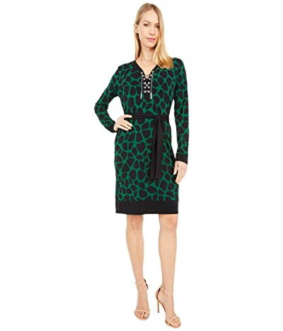 MICHAEL Michael Kors Animal Lace-Up Border Dress (Moss) Women