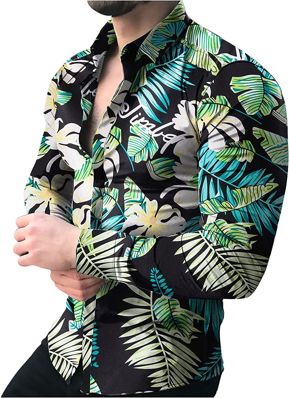VEKDONE Men's Floral Dress Shirt Slim Fit Long Sleeve Casual Fashion Paisley Printed Beach Hawaiian Button-Down Dress Shirt