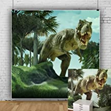 Laeacco 8x8ft Jurassic Photography Background Dinosaur in Forest Ancient Times Dinosaurs Trees Grassland Hills Blue Sky Scenic Photo Background