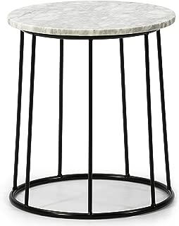 VS Sale-stock Mesa de centro Colombo Mesa de centro redonda con tapa de mármol blanco macizo y patas de metal negro mate / DIÁMETRO: 35 cm