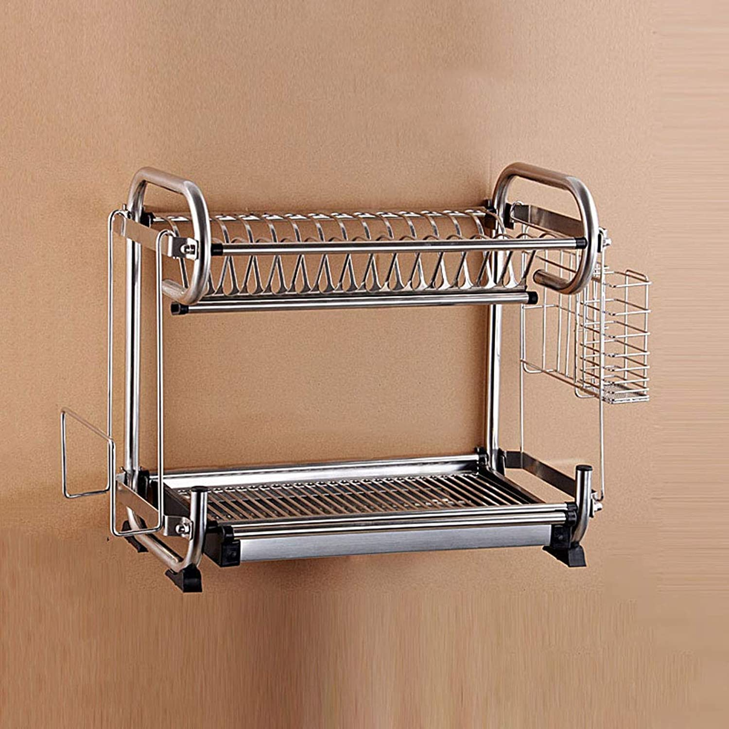 Multi-Function Wall-Mounted Kitchen Shelf or Stand, Kitchen Rack Double Stainless Steel Dish Rack Drain Rack Dish Rack Knife Holder Cup Holder (Size  47  25  39cm)