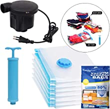 Kurtzy Vacuum Storage Reusable Ziplock Space Saver Bags (Pack of 5) 2 Small (40 cm x 60 cm), 2 Medium (50 cm x 70 cm), 1 Large (60 cm x 80 cm) with Electric Pump for Travel
