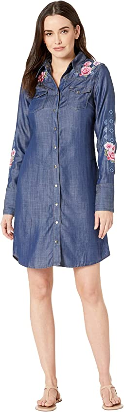 Dark Tencel Shirtdress with Lavish Embroidery
