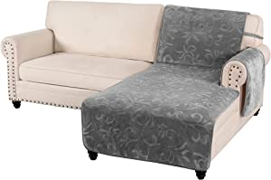 100% Waterproof Sofa Chaise Protector Premium Velvet Right-Arm Chaise Lounge Slip Cover for Dogs 132x36 Inch Classic Flower Pattern Furniture Protector Non-Slip with Elastic Strap, Grey