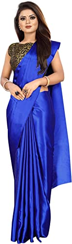 Ved Fashion Women's Plain Weave Satin Saree With Unstitched Blouse Piece