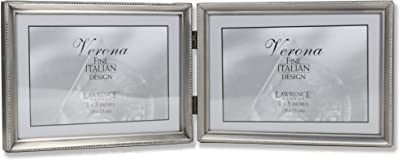 Lawrence Frames 11575D Brushed Pewter Bead Hinged Double Picture Frame, 7 by 5-Inch