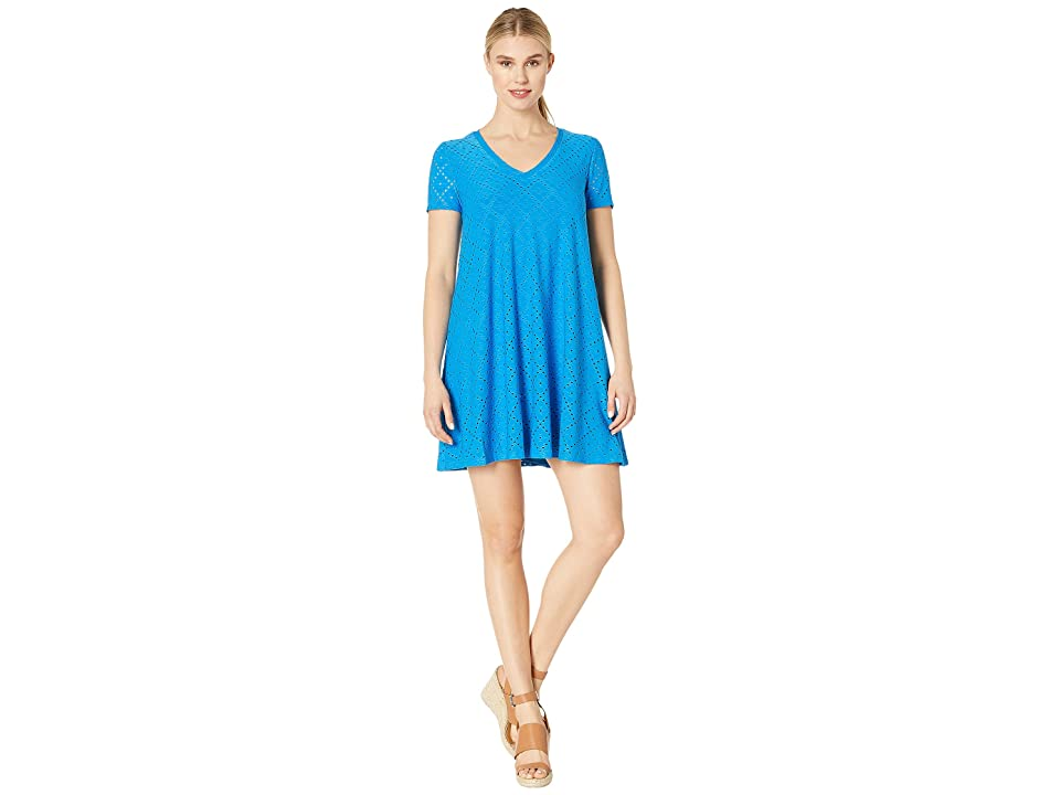 London Times Embroidered Jersey V-Neck A-Line Dress (Sea Bue) Women