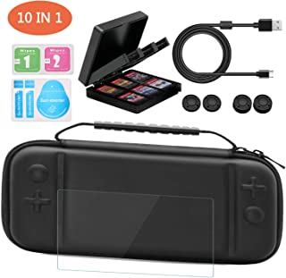 Xisunred Carrying Case Compatible With Nintendo Switch lite,Travel Case for Nintendo Switch lite Accessories, with Screen Protectors,Switch lite charging cable,Storage case,4 Thumb Grips Caps
