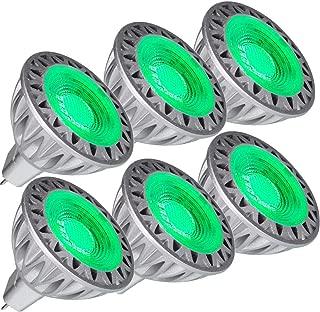 LEMENG MR16 GU5.3 Green LED Bulb 5W, 35W-50W Halogen Bulbs Equiv,GU 5.3 Bi-pin Fittings, Aluminum Casing, 12V DC AC Low Voltage,30 Deg for Outdoor Landscape Track Lighting, Not Dimmable X 6 Pack