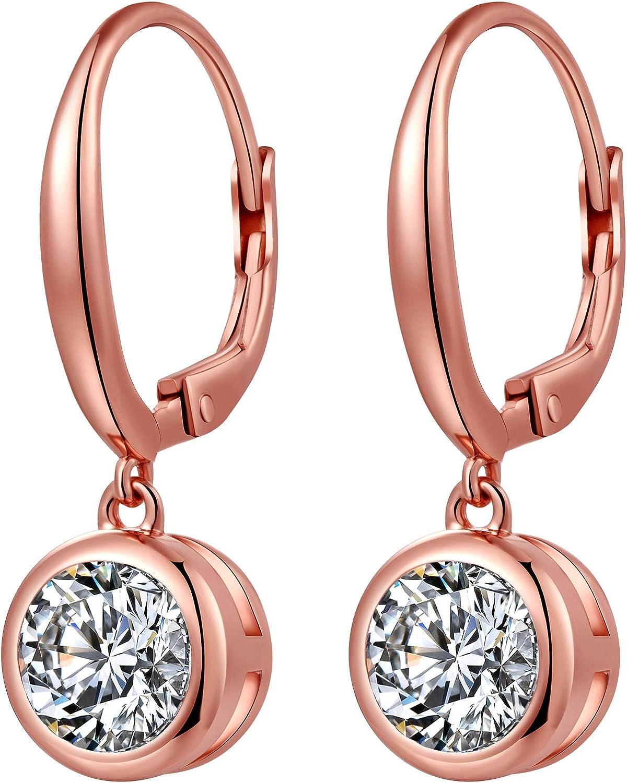ZowBinBin Bezel Earrings 18K 祝日 White Sterling Plated Gold 大人気 Silver R