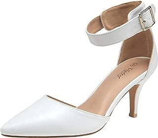Women Heels Pointed Toe Low Heel Dress Shoes Ankle Strap Pumps