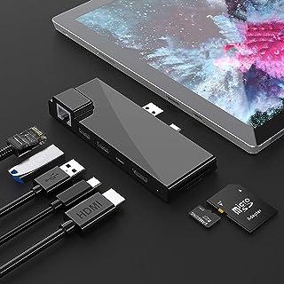 【アップグレード版】Microsoft Surface Pro 7ドックハブ、7-in-2 Surface Pro 2019アダプター、4K HDMI、USB C PD充電、2 USB 3.0ポート(5Gbps)、SD/TFカードリーダー、Gi...