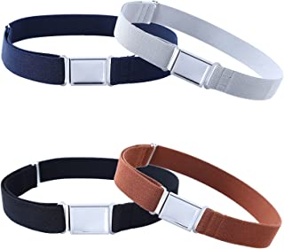 4PCS Kids Boys Adjustable Magnetic Belt - Elastic Belt with Easy Magnetic Buckle