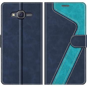 MOBESV Handyhülle für Samsung Galaxy J5 2015 Hülle Leder, Samsung Galaxy J5 2015 Klapphülle Handytasche Case für Samsung Galaxy J5 2015 Handy Hüllen, Modisch Blau